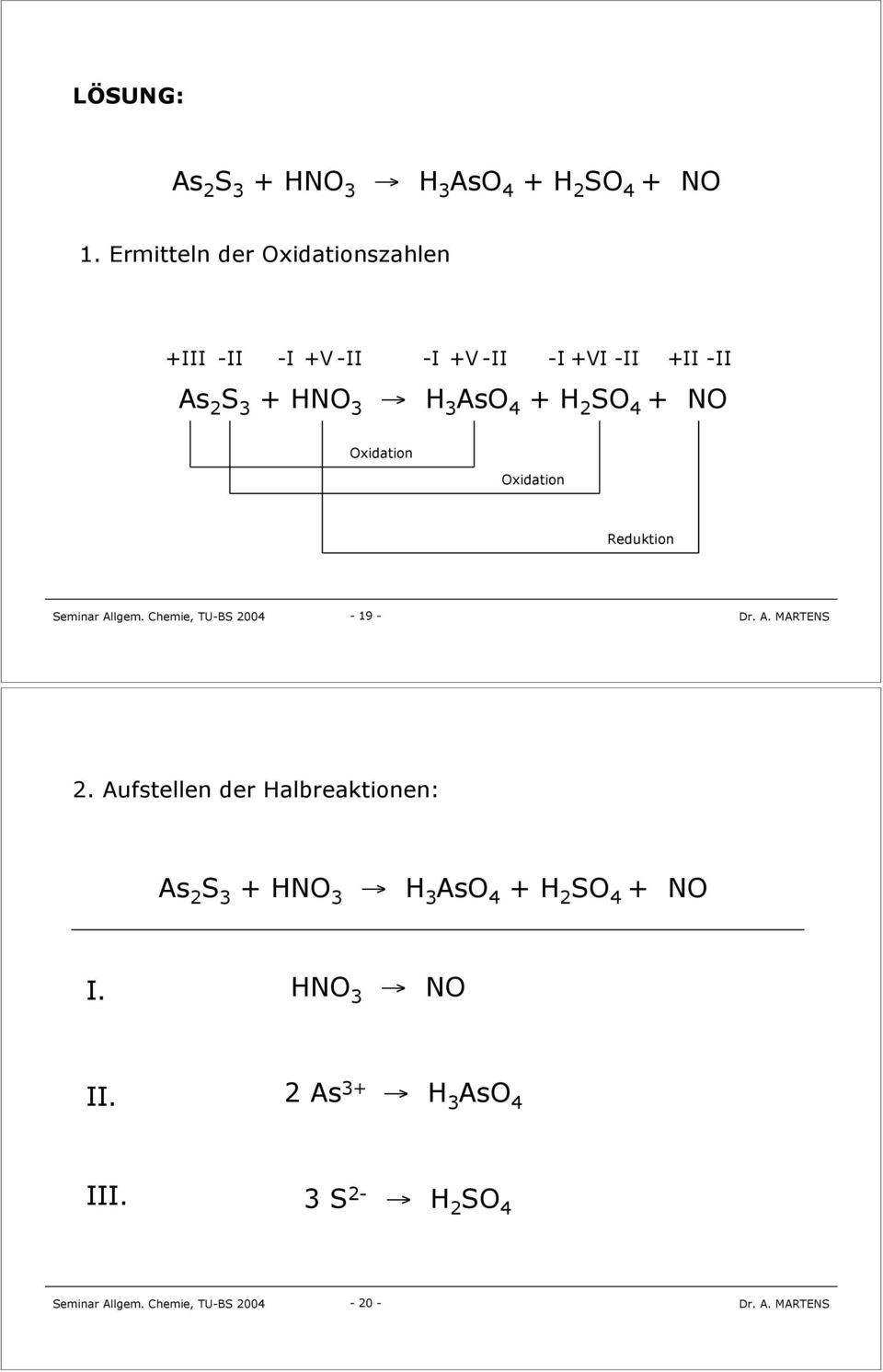 H 3 AsO 4 + H 2 SO 4 + NO Oxidation Oxidation Reduktion 19 2.