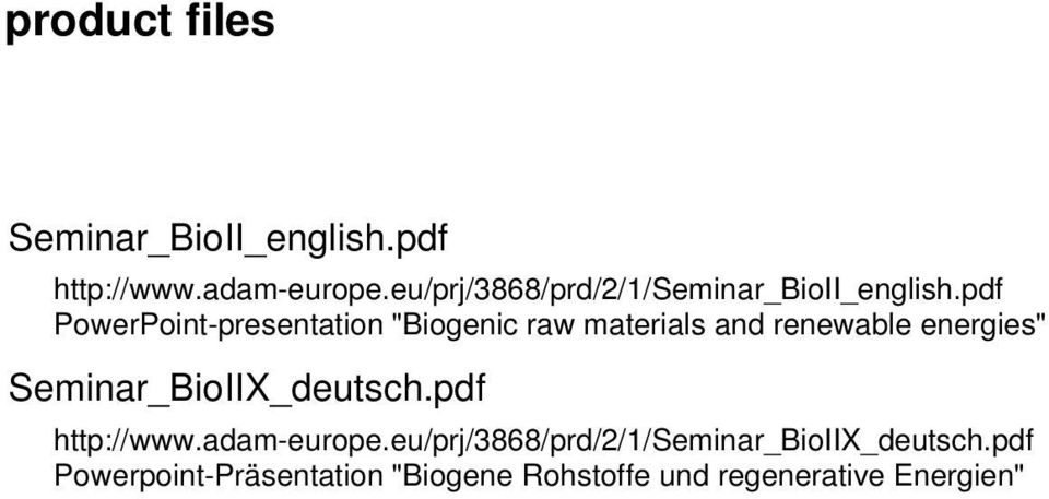 "pdf PowerPoint-presentation ""Biogenic raw materials and renewable energies"""