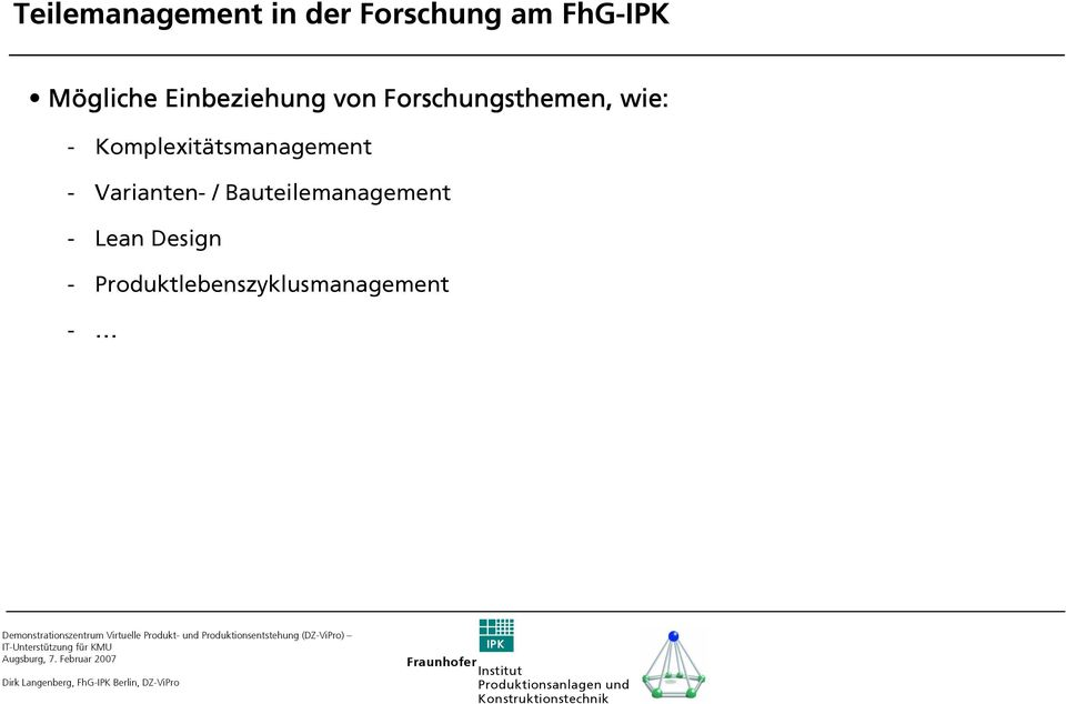 Komplexitätsmanagement - Varianten- / Bauteilemanagement -