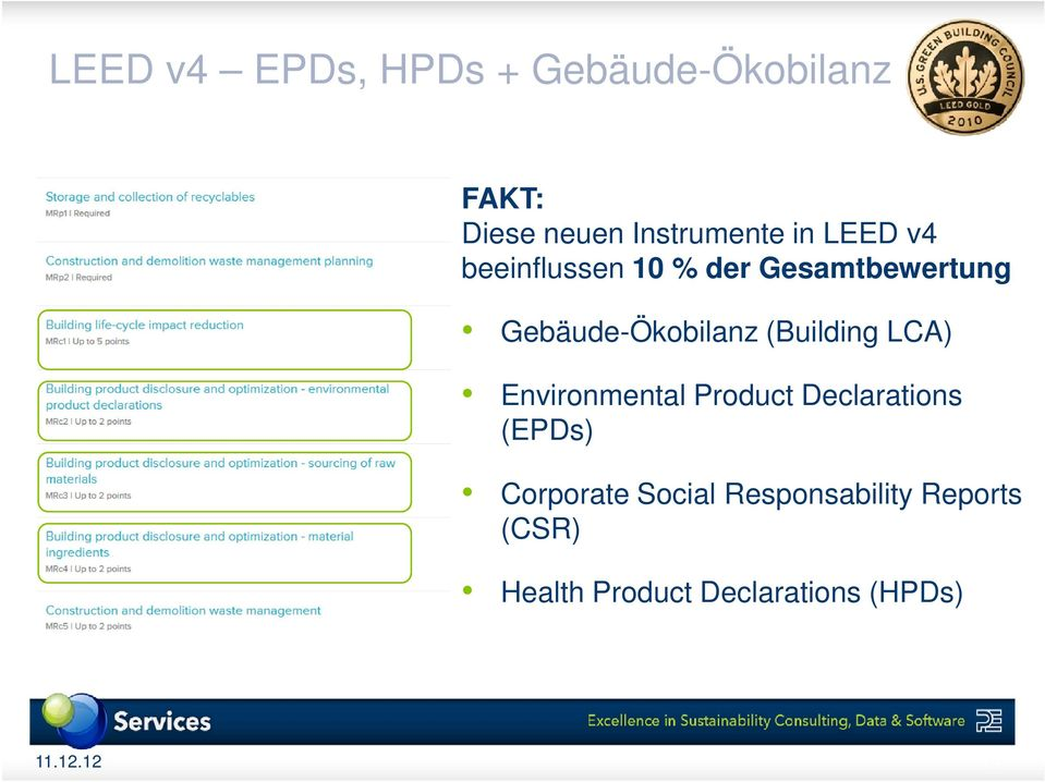 (Building LCA) Environmental Product Declarations (EPDs) Corporate