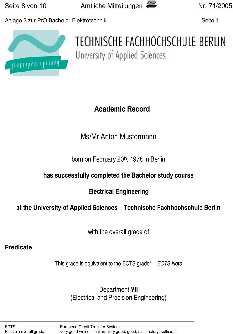 successfully completed the Bachelor study course Electrical Engineering at the University of Applied Sciences Technische Fachhochschule Berlin