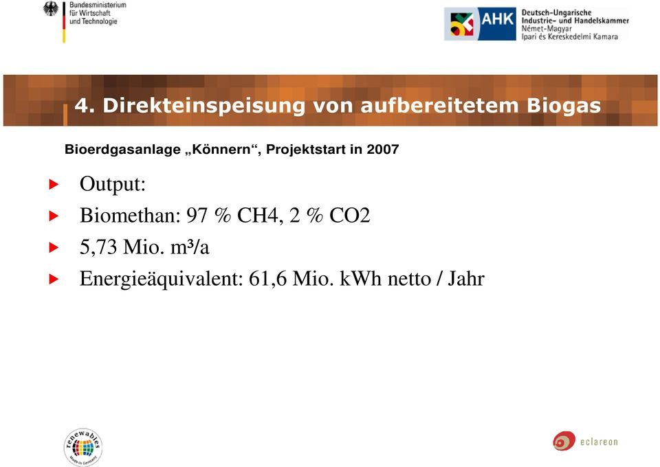 Output: Biomethan: 97 % CH4, 2 % CO2 5,73 Mio.