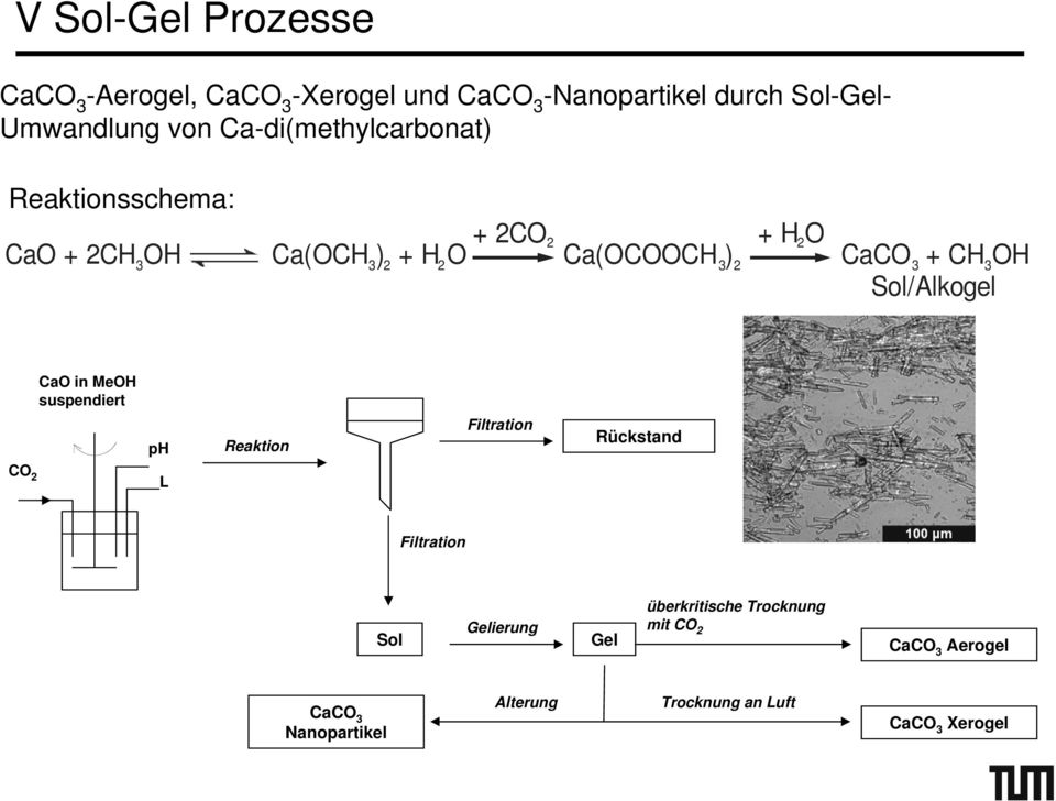CH3OH Sol/Alkogel CaO in MeOH suspendiert ph Reaktion Filtration Rückstand CO 2 L Filtration Sol Gelierung