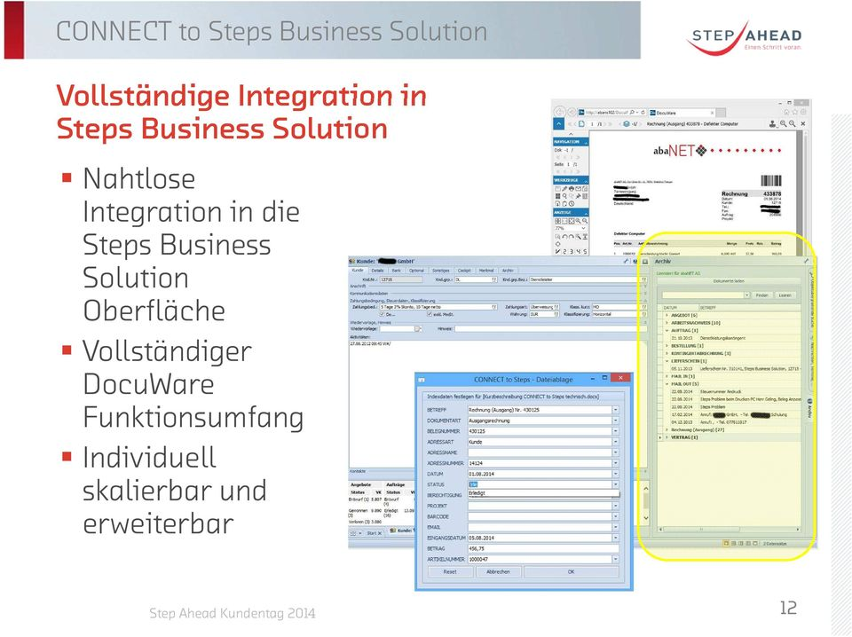 Integration in die Steps Business Solution Oberfläche