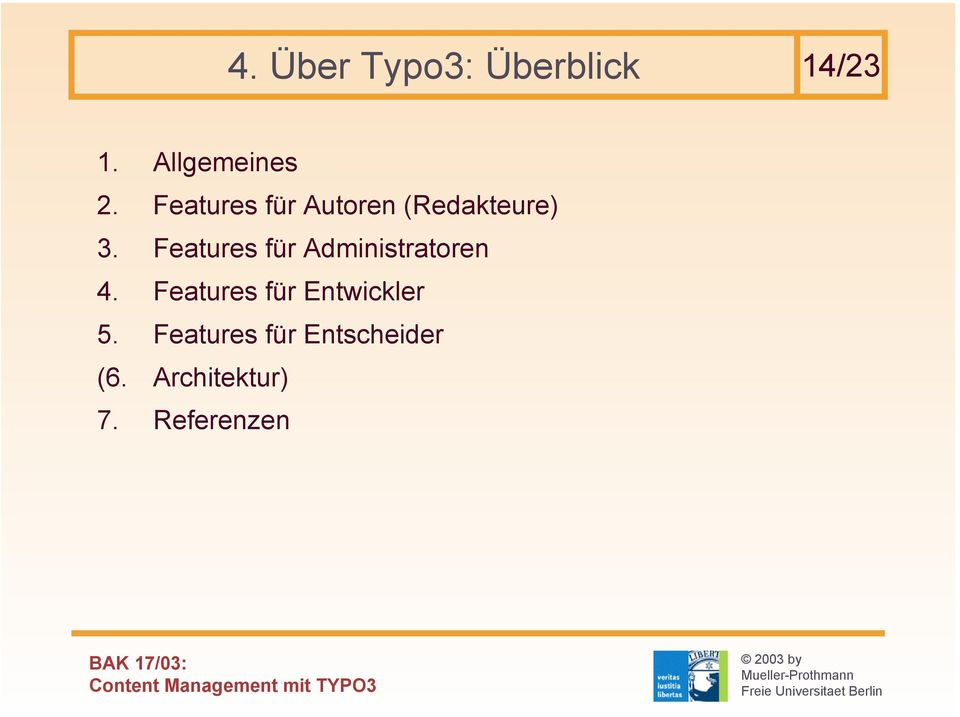 Features für Administratoren 4.