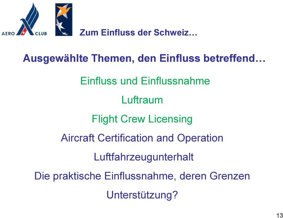 Aircraft Certification and Operation