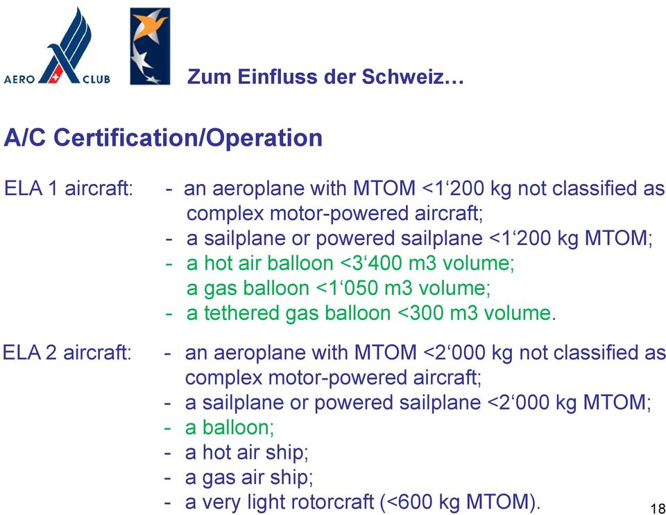 050 m3 volume; - a tethered gas balloon <300 m3 volume.