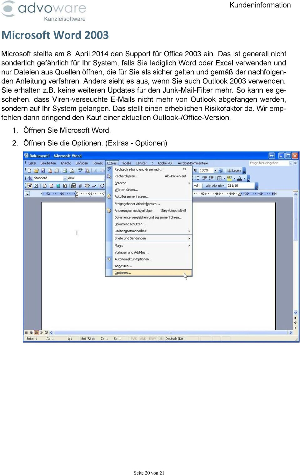 Einstellen der Makrosicherheit in Microsoft Word - PDF
