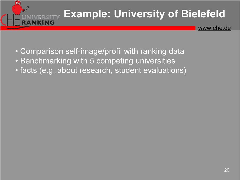 Benchmarking with 5 competing universities