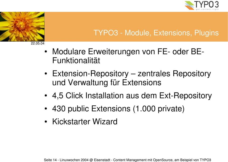Installation aus dem Ext-Repository 430 public Extensions (1.