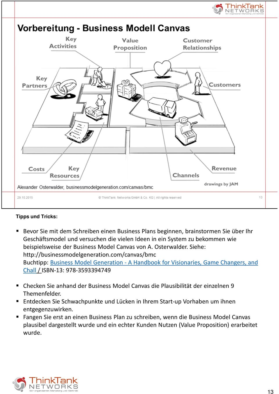 com/canvas/bmc Buchtipp: Business Model Generation - A Handbook for Visionaries, Game Changers, and Chall / ISBN-13: 978-3593394749 Checken Sie anhand der Business Model Canvas die