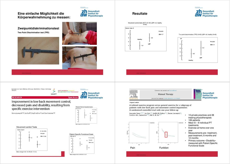 patients Mean 8 9 individual PT treatments Exercise at home over one year Measurements pre- treatment,