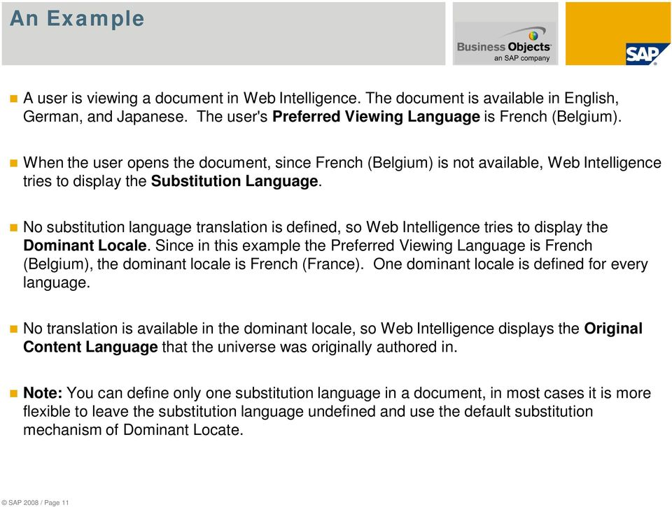No substitution language translation is defined, so Web Intelligence tries to display the Dominant Locale.