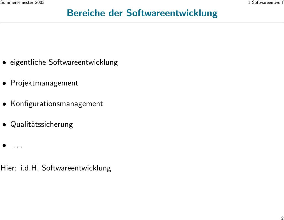 Softwareentwicklung Projektmanagement