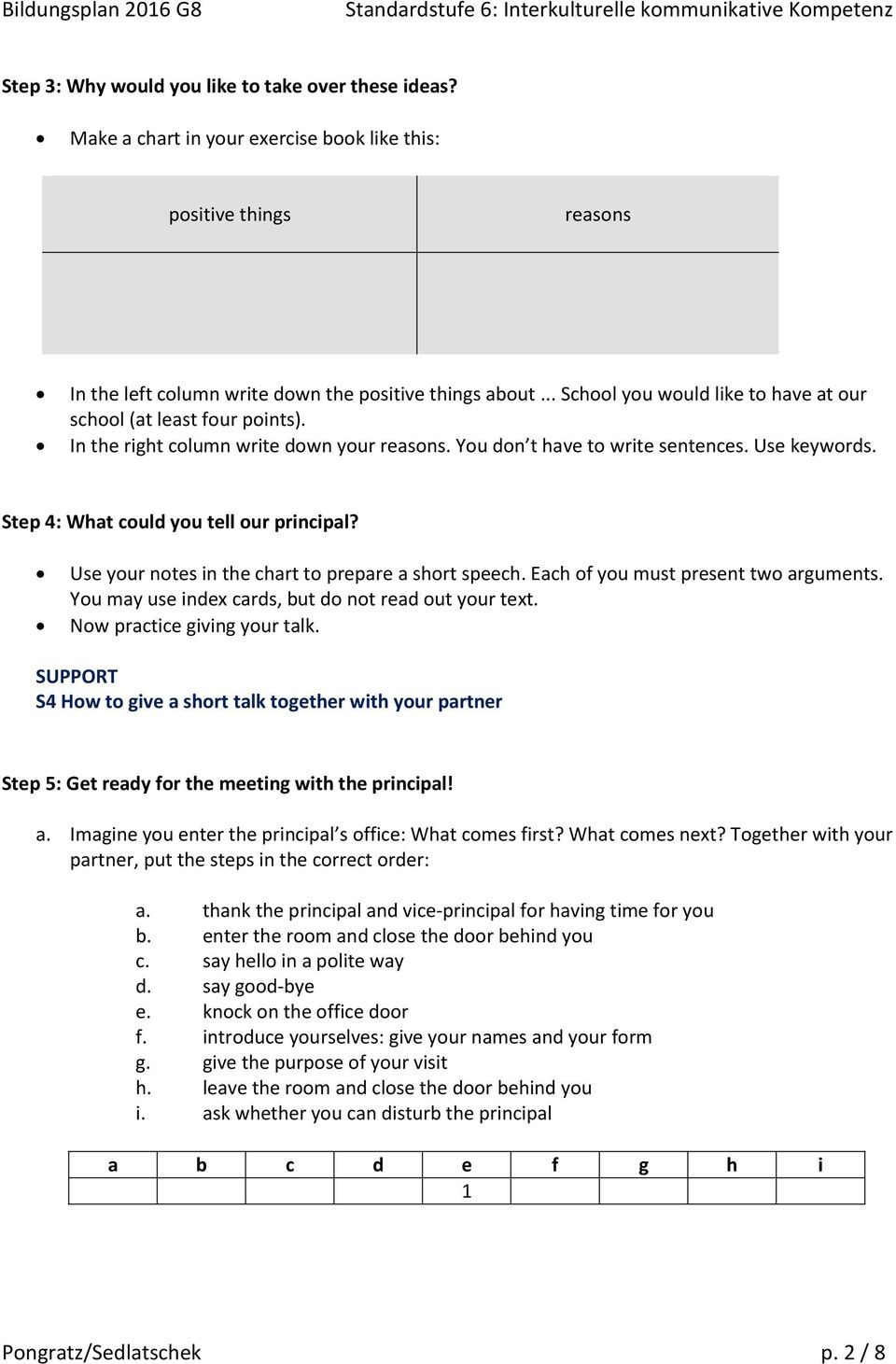 Step 4: What could you tell our principal? Use your notes in the chart to prepare a short speech. Each of you must present two arguments. You may use index cards, but do not read out your text.