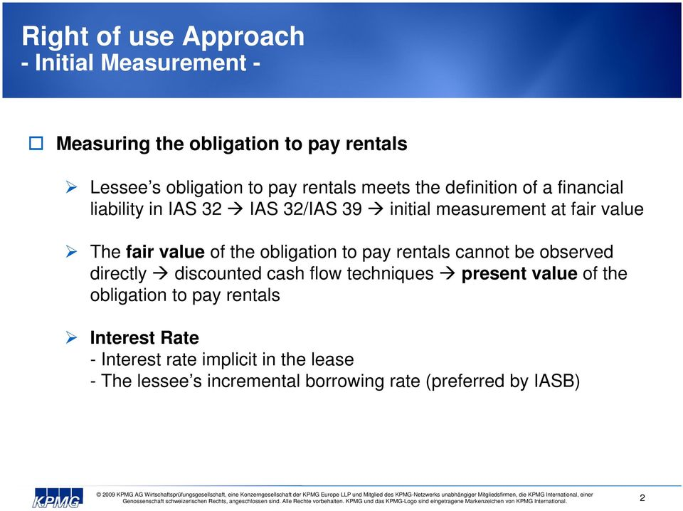obligation to pay rentals cannot be observed directly discounted cash flow techniques present value of the obligation