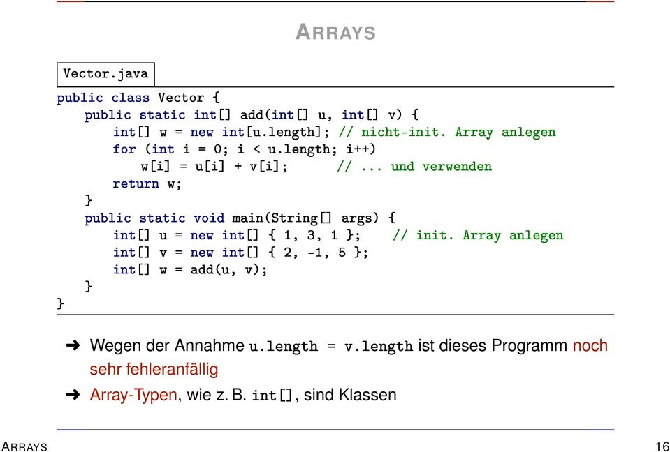 Array-Typen, wie z. B.