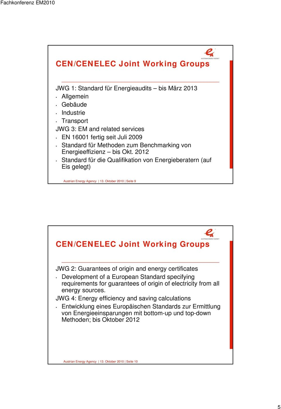 Oktober 2010 Seite 9 CEN/CENELEC Joint Working Groups JWG 2: Guarantees of origin and energy certificates Development of a European Standard specifying requirements for guarantees of origin of