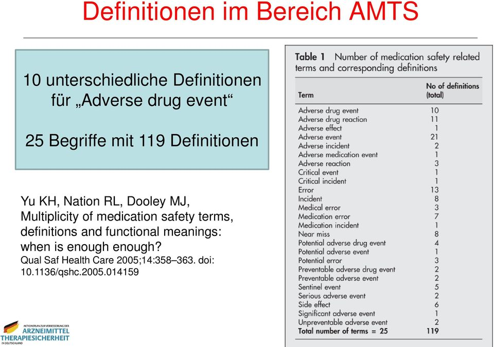 Multiplicity of medication safety terms, definitions and functional meanings: