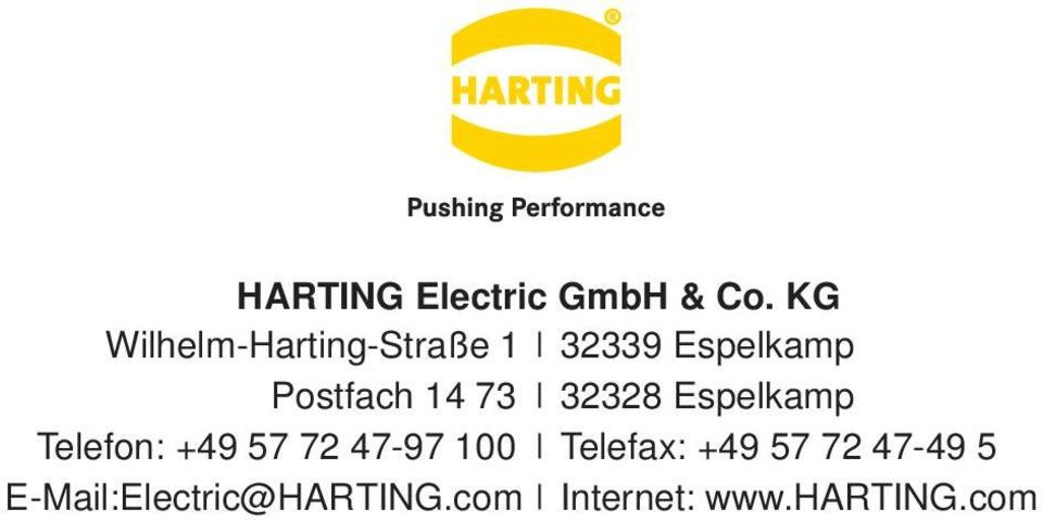+49 57 72 47-97 100 E-Mail:Electric@HARTING.