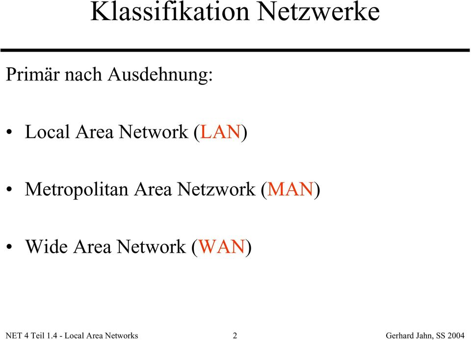 Metropolitan Area Netzwork (MAN) Wide Area