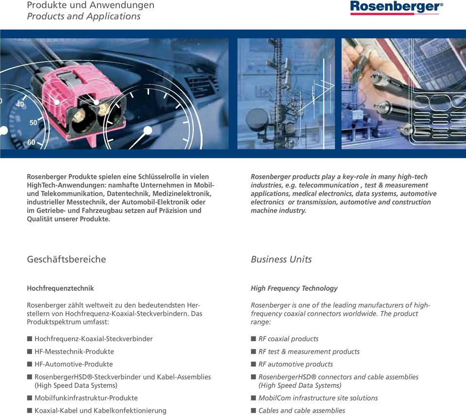 Rosenberger products play a key-role in many high-tech industries, e.g. telecommunication, test & measurement applications, medical electronics, data systems, automotive electronics or transmission, automotive and construction machine industry.