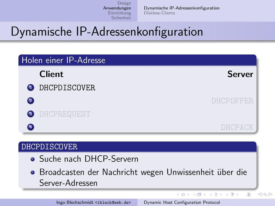 Server 2 DHCPOFFER 3 DHCPREQUEST 4 DHCPACK DHCPDISCOVER Suche nach