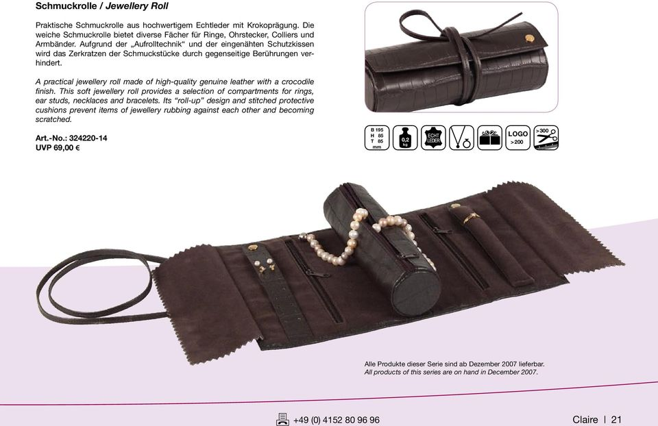 A practical jewellery roll made of high-quality genuine leather with a crocodile finish. This soft jewellery roll provides a selection of compartments for rings, ear studs, necklaces and bracelets.
