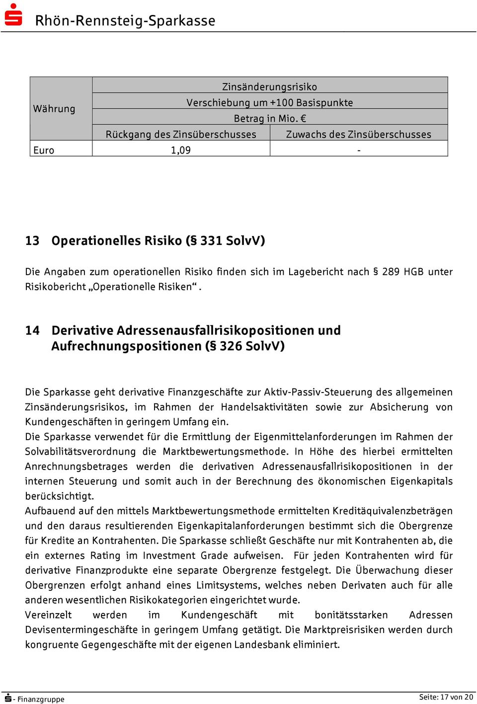 Risikobericht Operationelle Risiken.