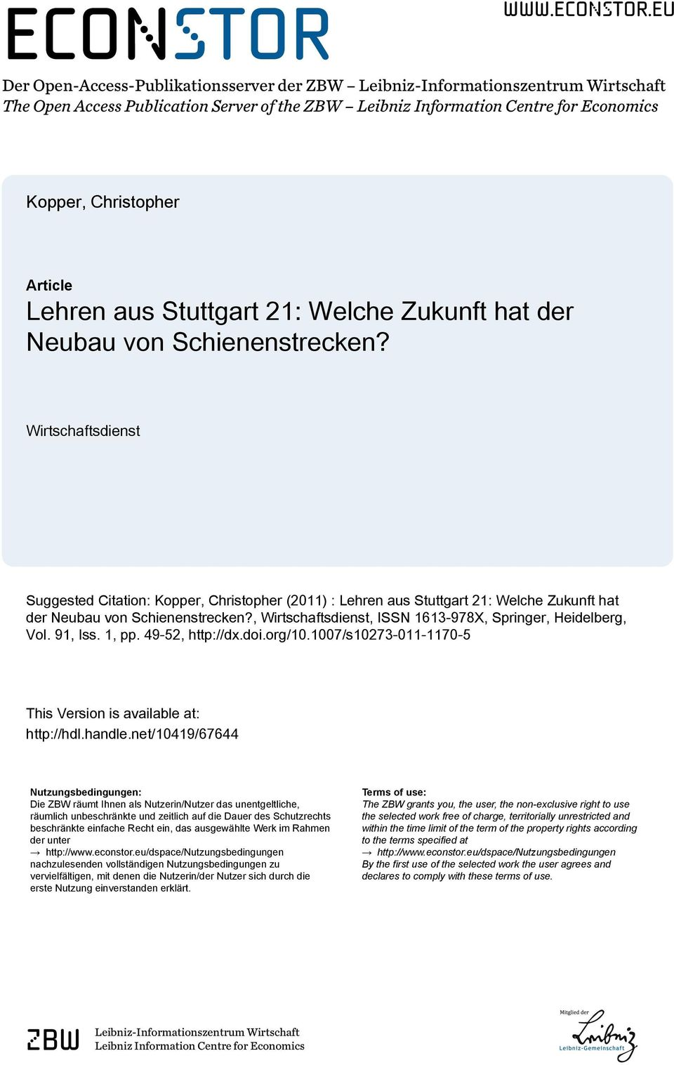 eu Der Open-Access-Publikationsserver der ZBW Leibniz-Informationszentrum Wirtschaft The Open Access Publication Server of the ZBW Leibniz Information Centre for Economics Kopper, Christopher Article