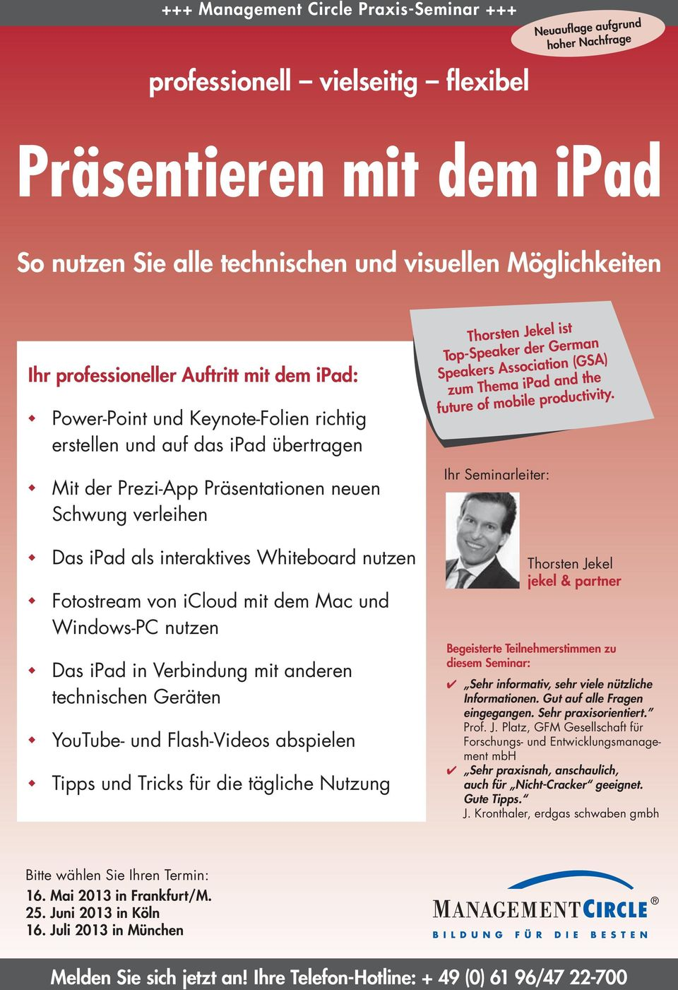 Speakers Association (GSA) zum Thema ipad and the future of mobile productivity.