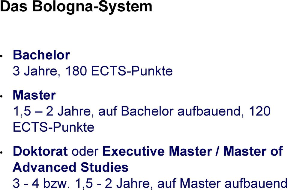ECTS-Punkte Doktorat oder Executive Master / Master