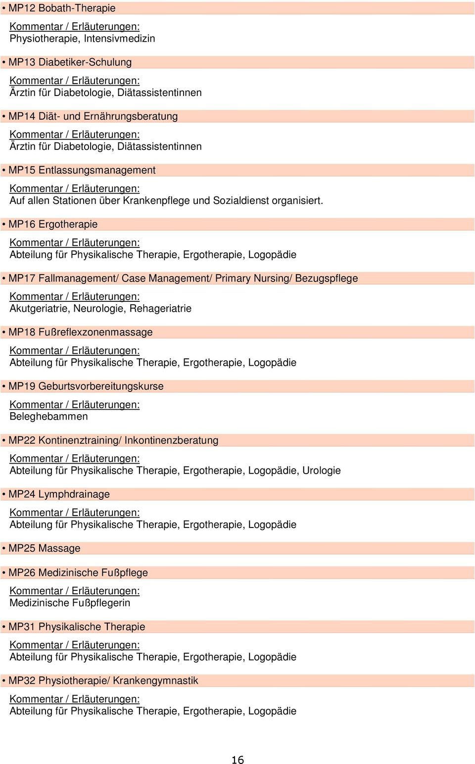 MP16 Ergotherapie Abteilung für Physikalische Therapie, Ergotherapie, Logopädie MP17 Fallmanagement/ Case Management/ Primary Nursing/ Bezugspflege Akutgeriatrie, Neurologie, Rehageriatrie MP18