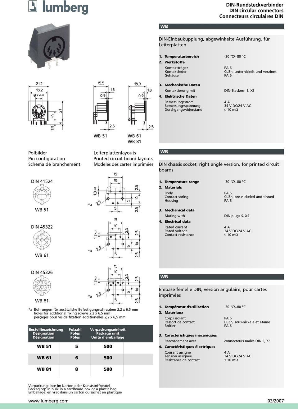 de branchement WB 51 WB 61 WB 81 Leiterplattenlayouts Printed circuit board layouts Modèles des cartes imprimées WB DIN chassis socket, right angle version, for printed circuit boards DIN 41524 WB 51