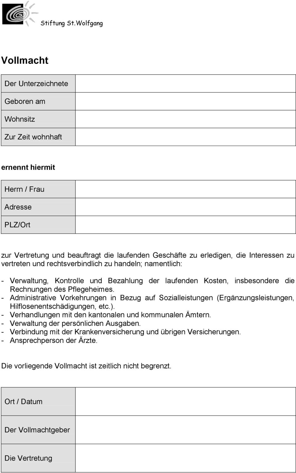 Stiftung St.Wolfgang. Alfons-Aeby-Strasse Düdingen Tel Fax - PDF