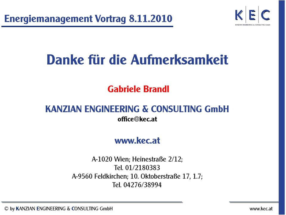ENGINEERING & CONSULTING GmbH office@kec.