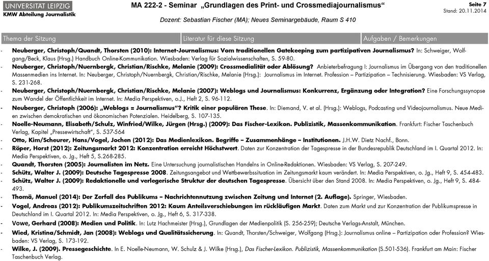 Anbieterbefragung I: Journalismus im Übergang von den traditionellen Massenmedien ins Internet. In: Neuberger, Christoph/Nuernbergk, Christian/Rischke, Melanie (Hrsg.): Journalismus im Internet.