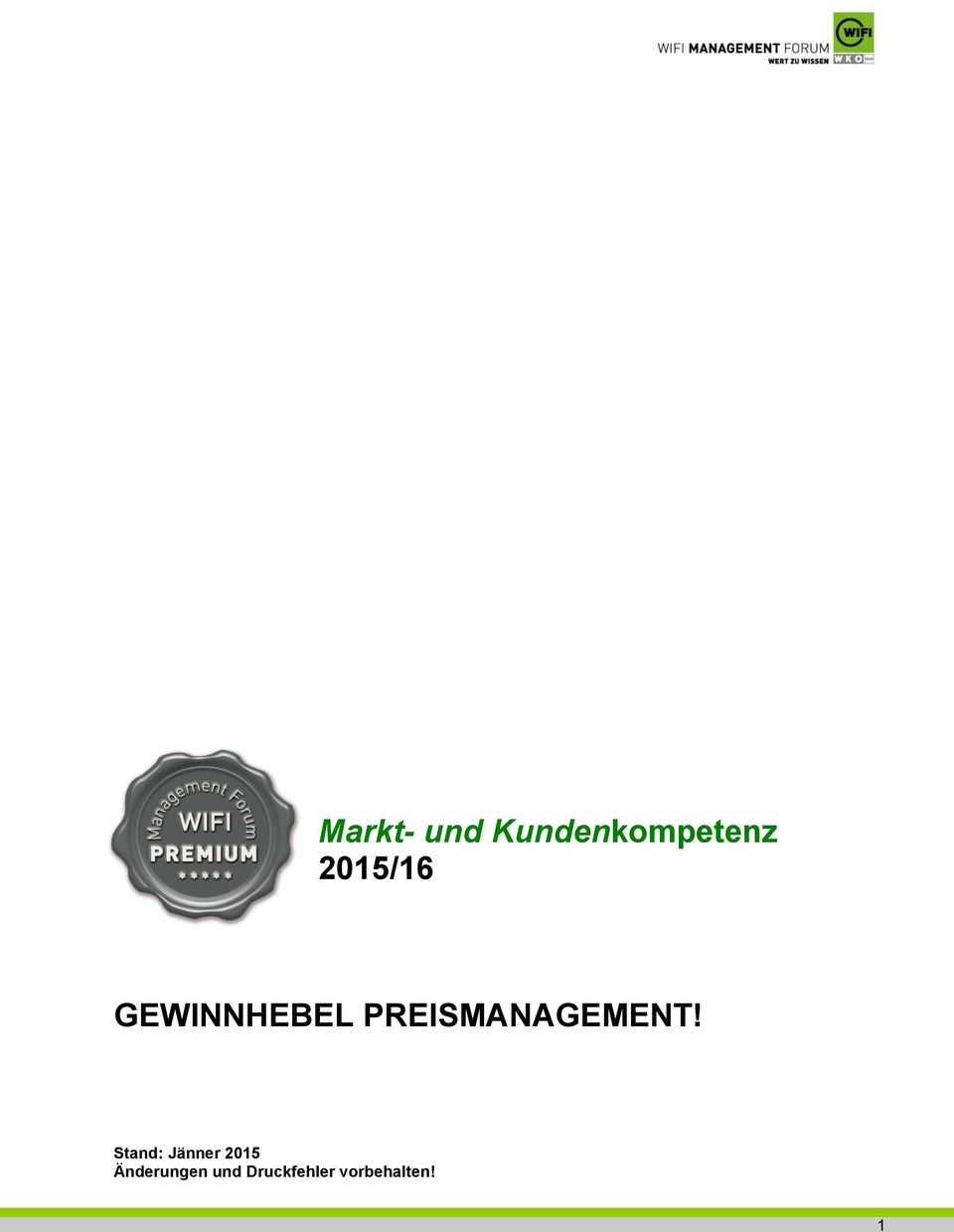 PREISMANAGEMENT!