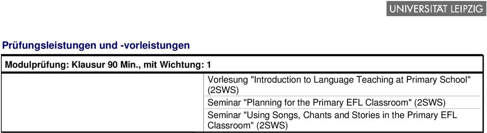 "Primary School"" (2SWS) Seminar ""Planning for the Primary EFL Classroom"""
