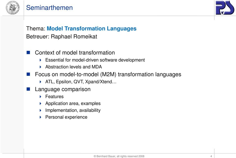(M2M) transformation languages ATL, Epsilon, QVT, Xpand/Xtend Language comparison Features