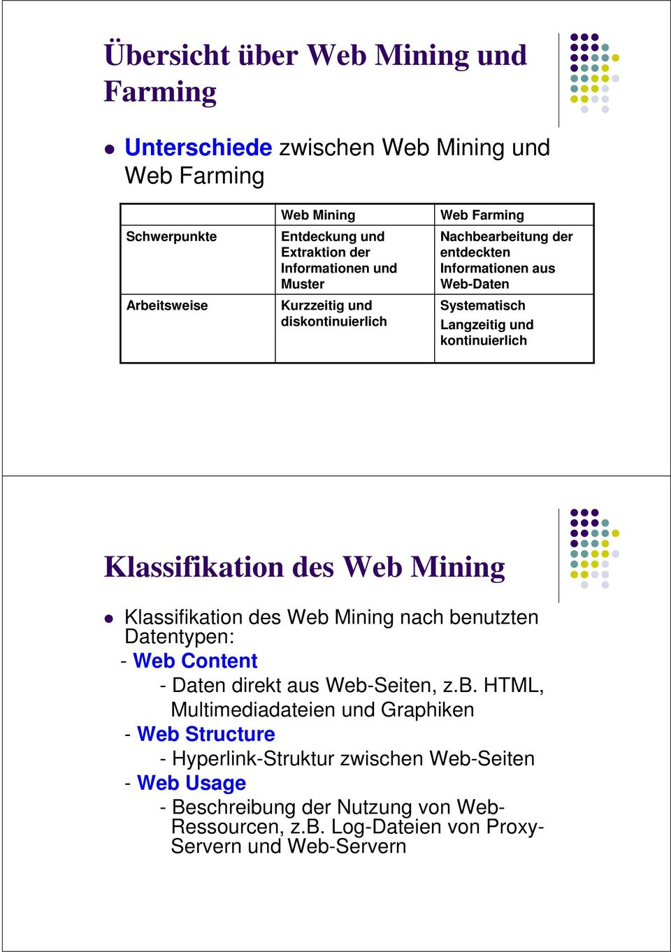 Klassifikation des Web