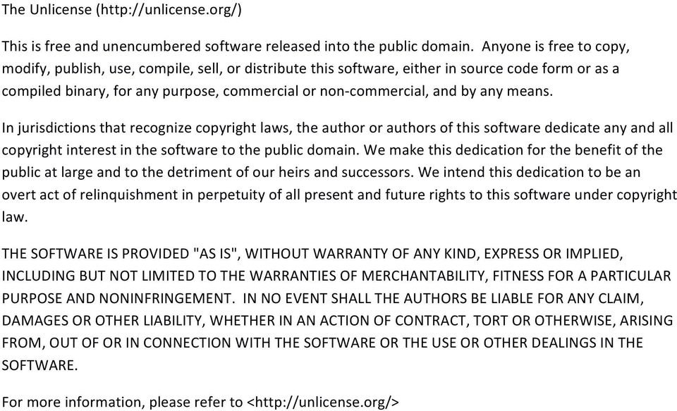 any means. In jurisdictions that recognize copyright laws, the author or authors of this software dedicate any and all copyright interest in the software to the public domain.