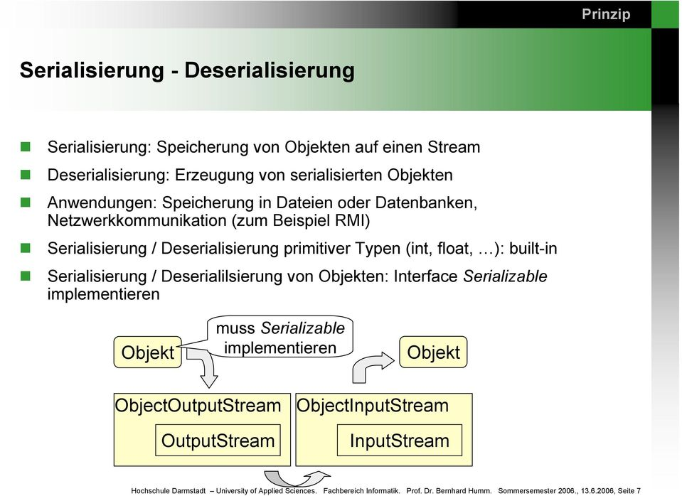 built-in Serialisierung / Deserialilsierung von Objekten: Interface Serializable implementieren Objekt muss Serializable implementieren Objekt ObjectOutputStream