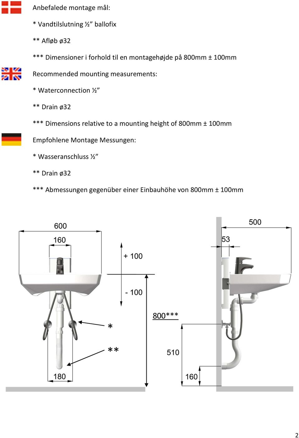 *** Dimensions relative to a mounting height of 800mm ± 100mm Empfohlene Montage Messungen: *