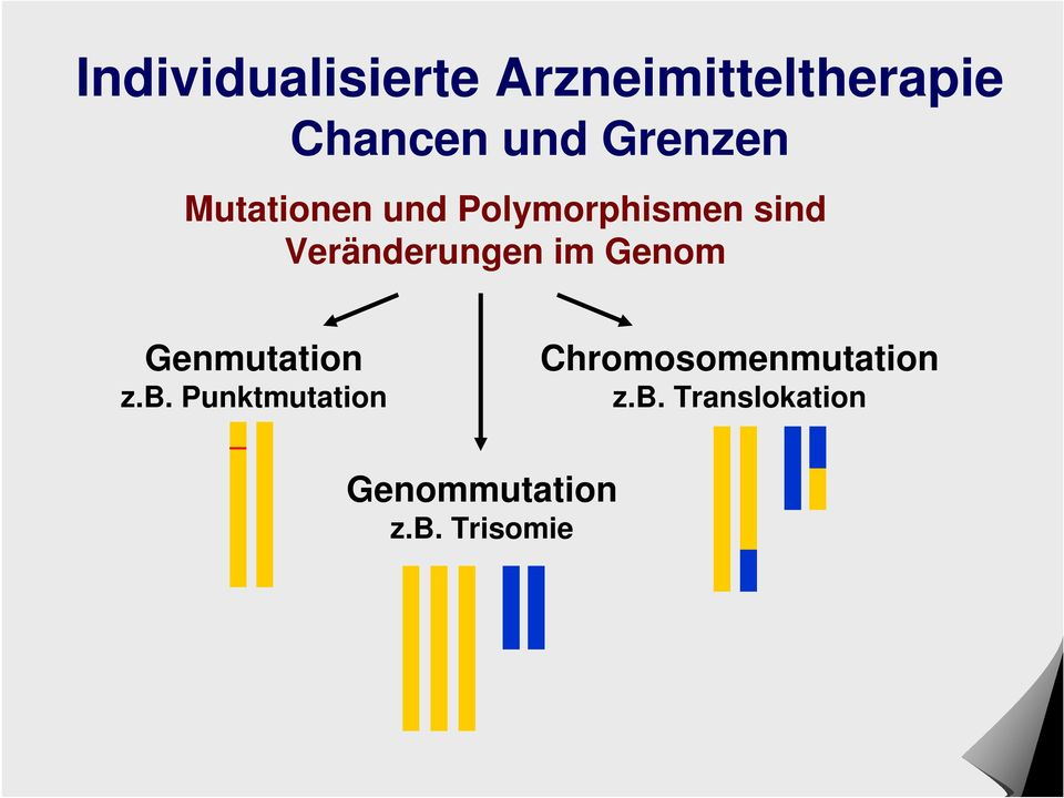 Punktmutation Chromosomenmutation z.b.