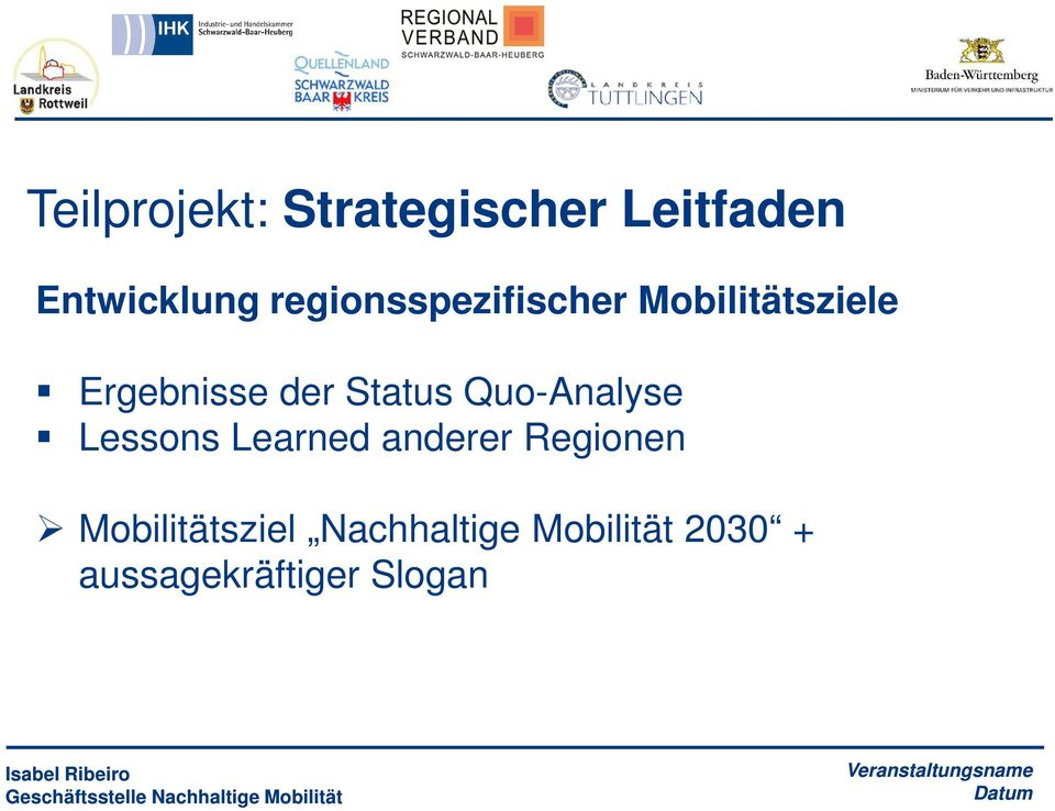 Status Quo-Analyse Lessons Learned anderer Regionen