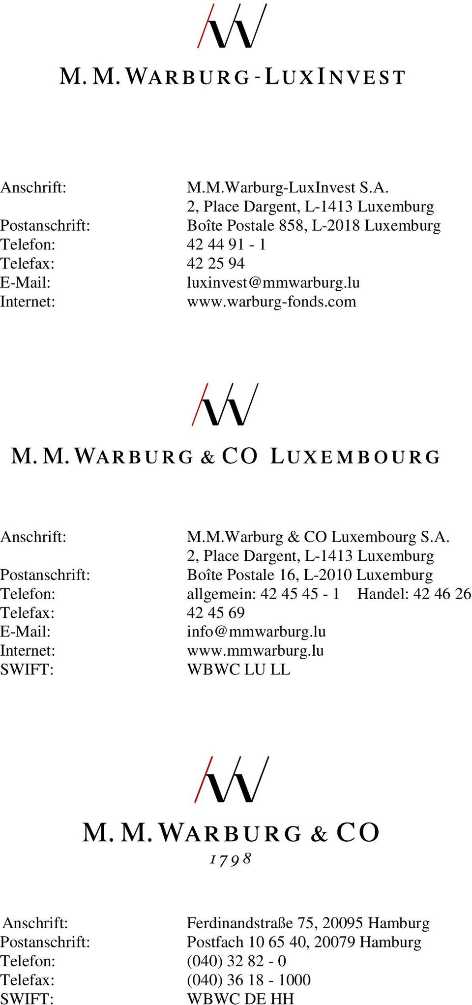 schrift: M.M.Warburg & CO Luxembourg S.A.