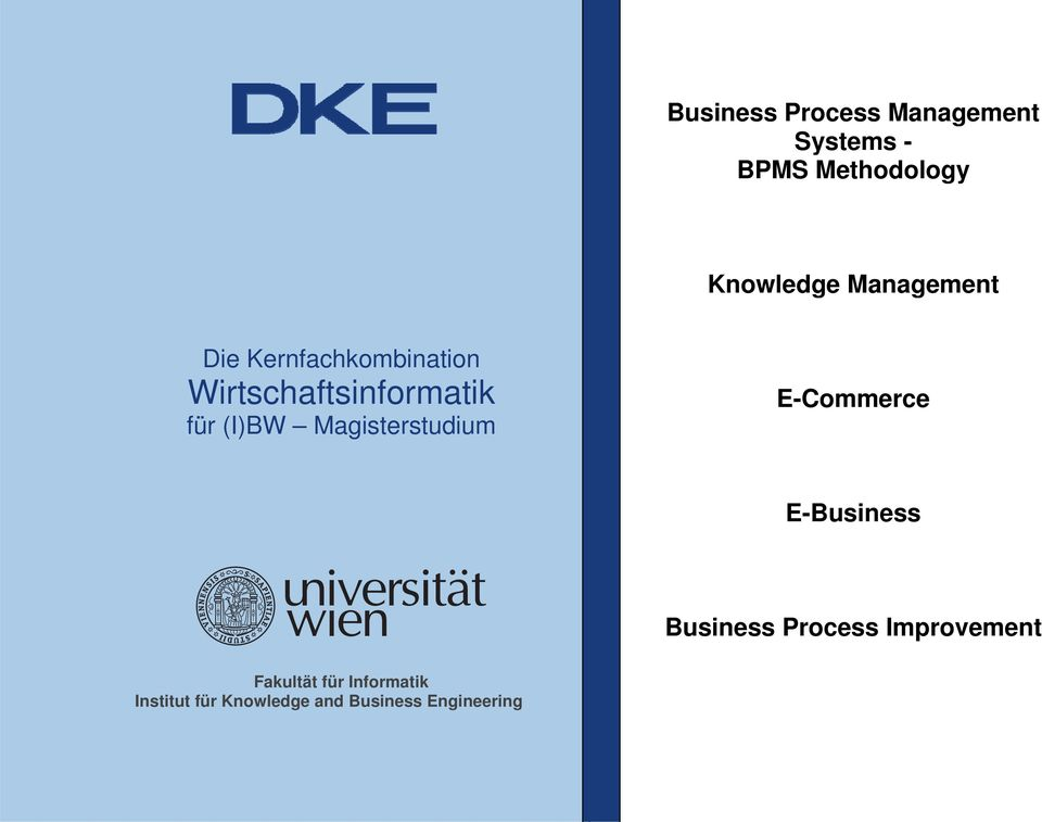 Magisterstudium E-Commerce E-Business Business Process Improvement
