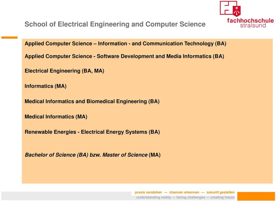 Electrical Engineering g (BA, MA) Informatics (MA) Medical Informatics and Biomedical Engineering (BA)