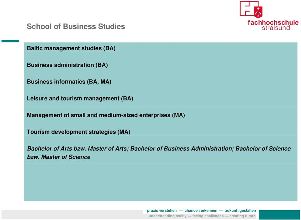 and medium-sized enterprises (MA) Tourism development strategies (MA) Bachelor of Arts bzw.